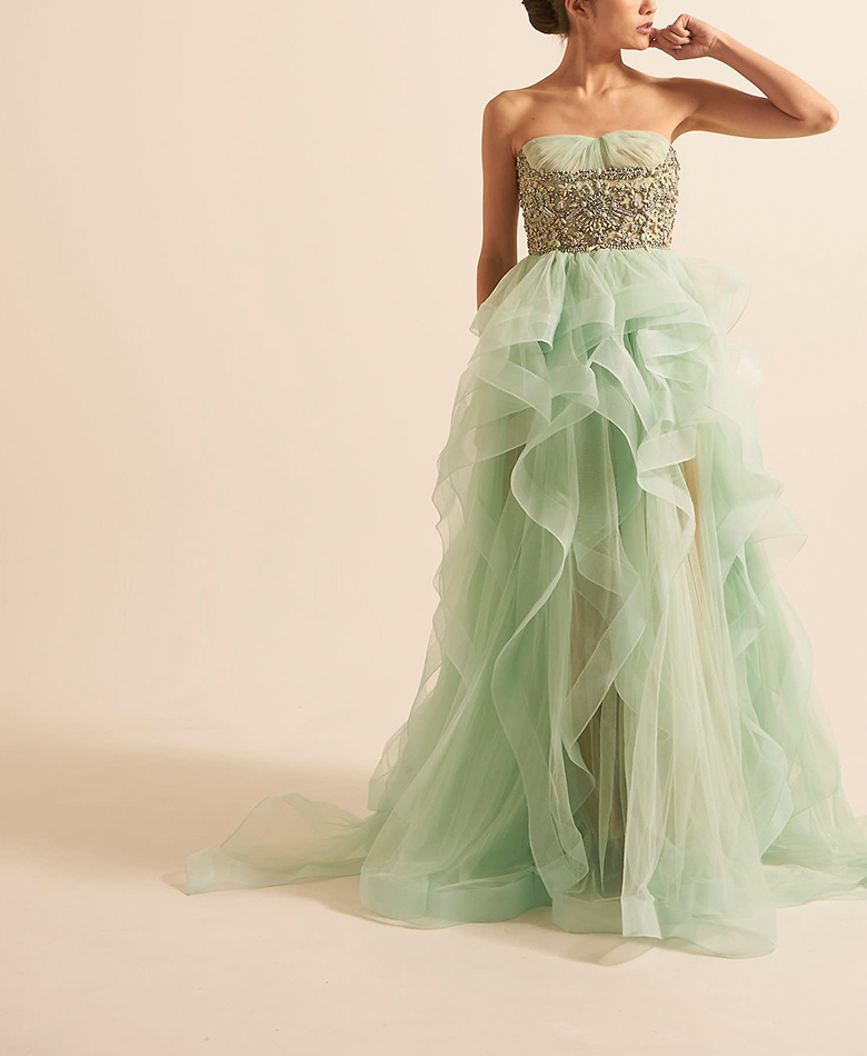 【REEM ACRA】Embroidered Tulle Dress Mint(US4/9号)